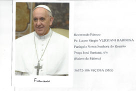 Carta do Papa Francisco para o Cônego Lauro, por ocasião de seu Jubileu de Prata